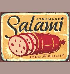 homemade salami retro poster design vector image