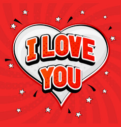 I love you red text in capitals on red background vector