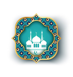 isolated banner with white mosque vector image