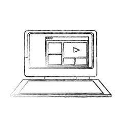 Laptop with screen video play button page web vector