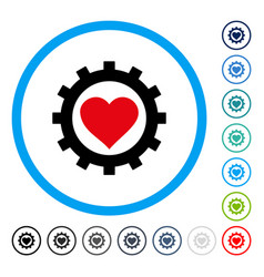 Love heart options gear rounded icon vector