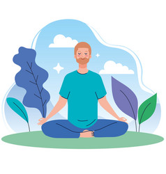 Man meditating in nature and leaves concept vector