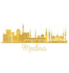 Medina saudi arabia city skyline golden silhouette vector
