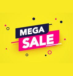 mega sale banner colorful label and sticker design vector image