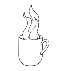 monochrome contour with hot mug of coffee close up vector image
