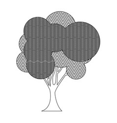 Monochrome silhouette big leafy tree with zigzag vector