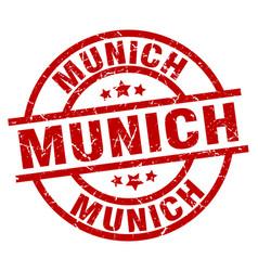 Munich red round grunge stamp vector