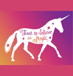 Mythical rebellious unicorn silhouette vector