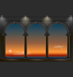 Night arch of the palace vector