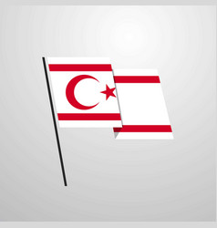Northern cyprus waving flag design background vector