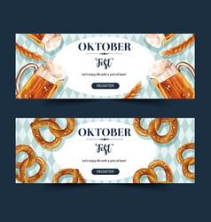 Oktoberfest banner design with beer pretzel wheat vector
