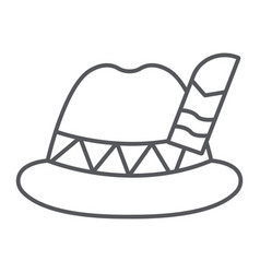 oktoberfest hat thin line icon bavarian and cap vector image