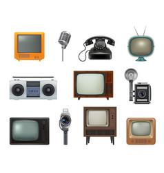 old style technics 80s retro household gadgets vector image