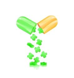 Open pill capsule vector