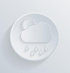 paper flat circle icon cloud rain vector image