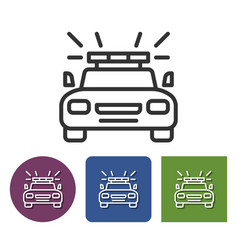 Police car line icon in different variants vector