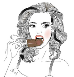 Portrait of young woman portrait with an icecream vector