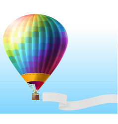 Realistic hot air balloon with blank ribbon vector