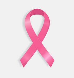 Realistic pink ribbon breast cancer awareness vector