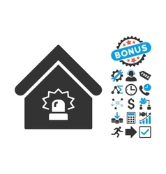Realty Alarm Flat Icon with Bonus vector image