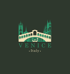 rialto bridge logo venice architectural landmark vector image