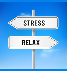 road signs of stress and relax vector image