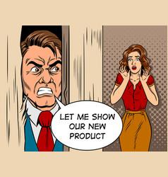 Salesman breaking door comic book style vector