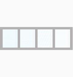 school notebook vertical paper sheet pattern set vector image