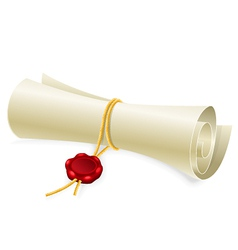 Scroll paper with seal of sealing wax vector image
