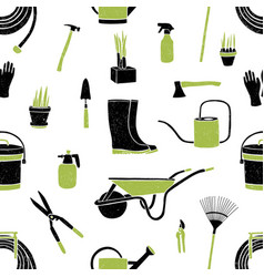 seamless pattern with black and green gardening vector image