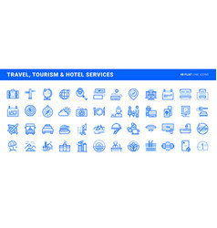 Set flat line icons vector