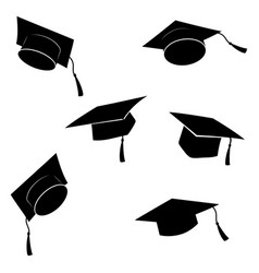 Set flying graduation caps collection of vector