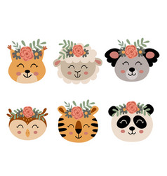 Set isolated cute animal faces with flowers 2 vector