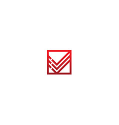 shape line letter v initial company logo vector image