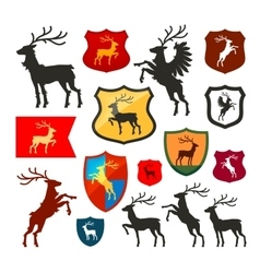 Shield with deer reindeer stag logo Coat vector image