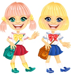 Smiling blonde cute schoolgirls vector image