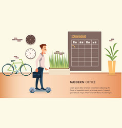 smiling office worker in suit move on hover board vector image
