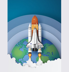 Space shuttle taking off on a mission vector