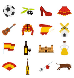 Spain travel set flat icons vector