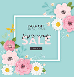 spring sale banner background paper cut flowers vector image