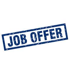 Square grunge blue job offer stamp vector