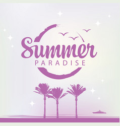 summer travel banner with palm trees and ship vector image