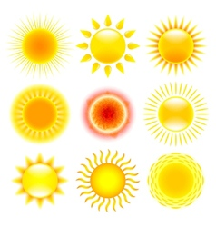 Sun icons set vector