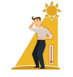 sunstroke and sunburn risk man under burning sun vector image