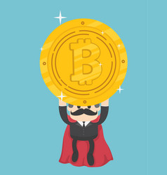 super businessmen who can help bitcoin coins out vector image