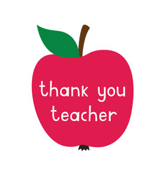 thank you teachers day card with an apple vector image