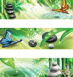 Three horizontal banners with background of a SPA vector image