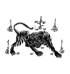 Tiger thai traditional painting tattoo vector