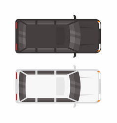 Top view two minivan car vector