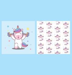 unicorn lifts barbell healthy body pattern vector image